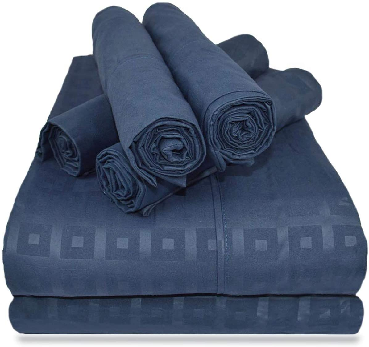 Victoria Valenti Embossed Sheet Set with 4 Pillow Cases, Double Brushed and Ultra Soft with Deep Pockets for Extra Deep Mattress, Microfiber, Hypoallergenic Queen Navy