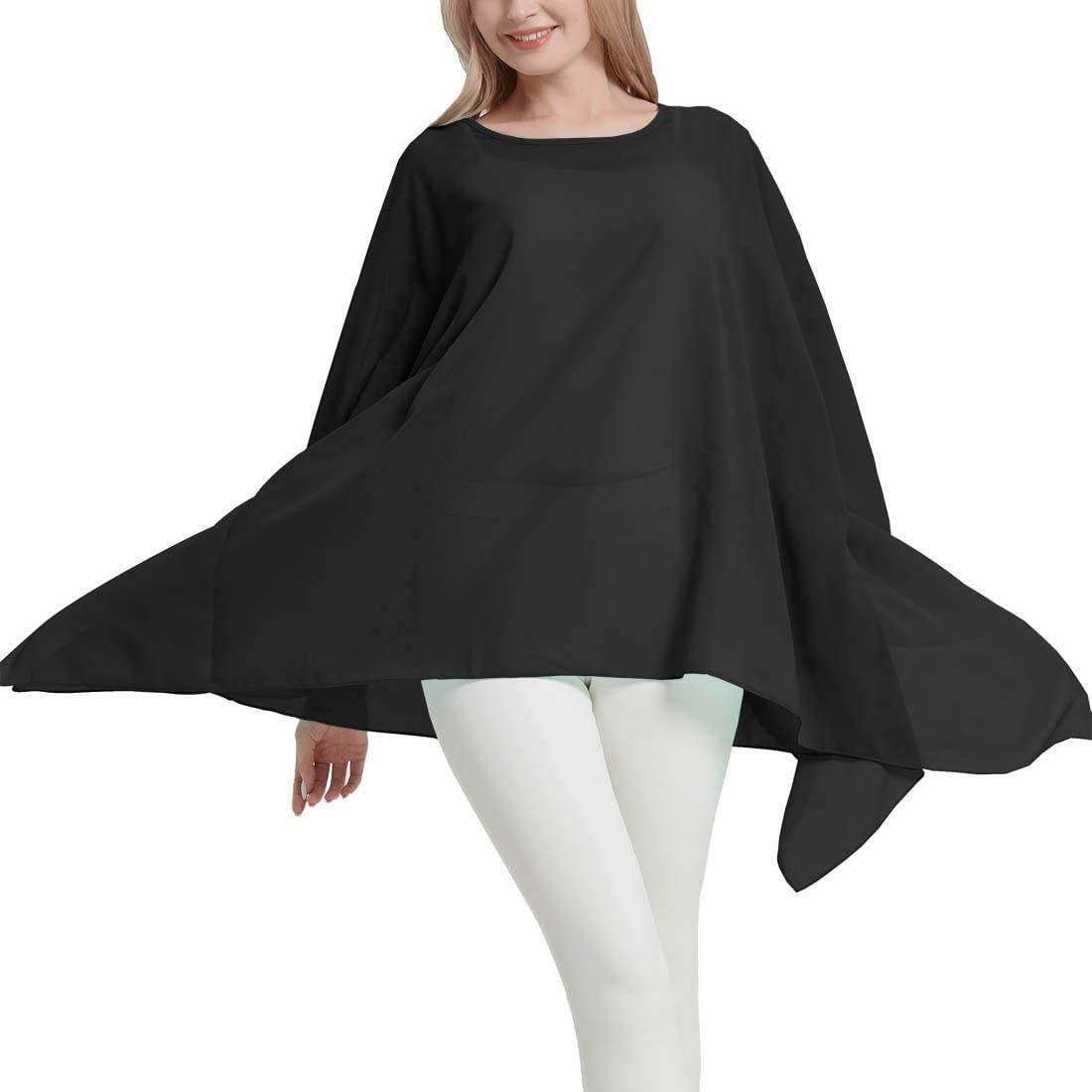 Women's Loose Solid Long Batwing Sheer Chiffon Caftan Wrap Poncho Tunic Top Topper