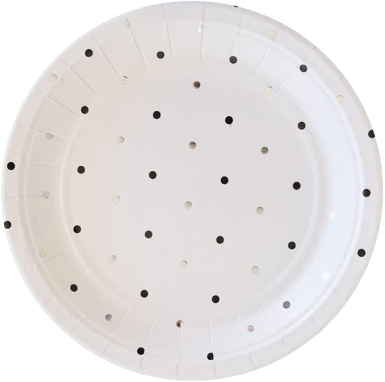 Illume Partyware Celebrate Happiness Silver & Black Spots Dessert Plate -Pack of 10