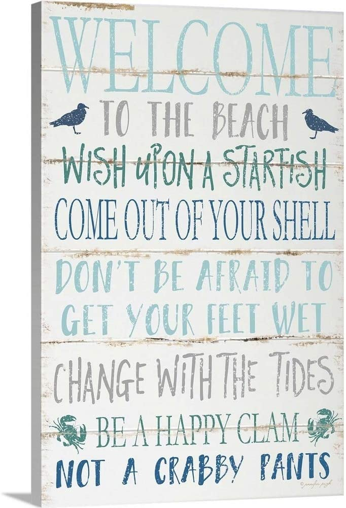Welcome to The Beach Canvas Wall Art Print, 12x18x1.25