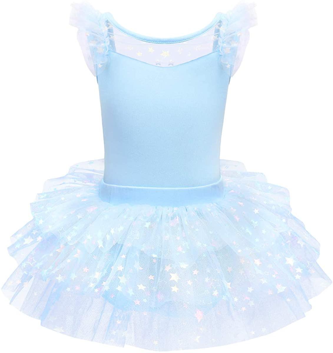 IDOPIP Girls Glitter Star Tutu Skirted Leotard Sequin Ruffle Sleeve Ballet Dance Dress Ballerina Dancewear Gymnastics Costume