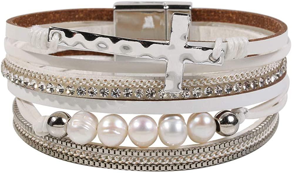 Vercret Leather Wrap Bracelet for Women - Multi-Layer Bracelets for Girl, Ideal Gift Bracelet for Women, Big Sister, Mom…