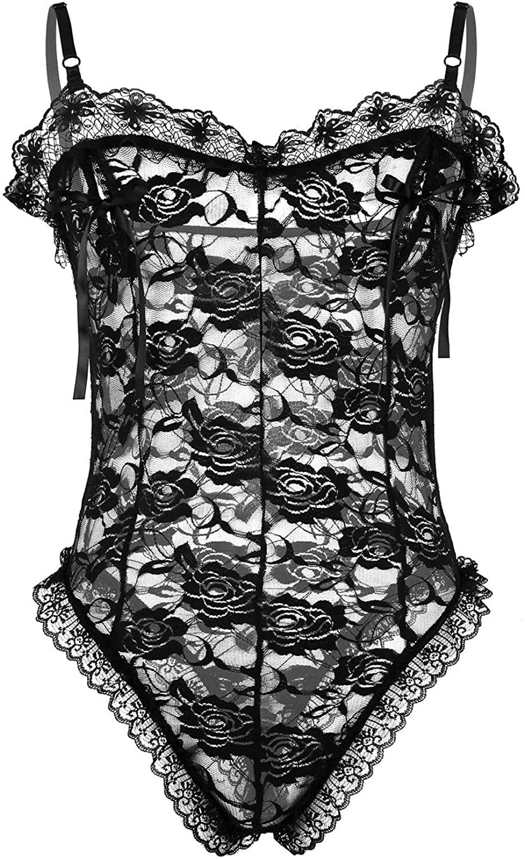 zdhoor Mens Lace Crossdress Mesh Sheer One-Piece Thong Bodysuit Leotard Jumpsuit Underwear Lingerie