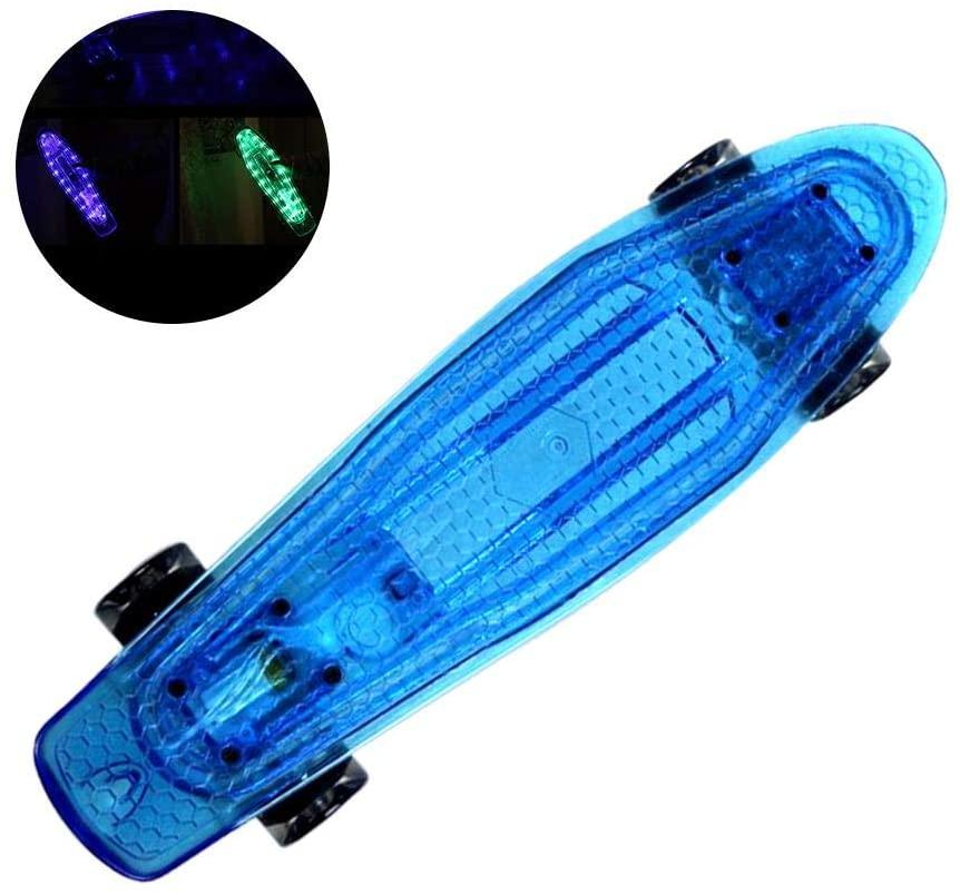 Voyoo Skateboard Skateboards Penny Board Blue-22 Inch Cruiser Board Kids Skateboard with LED Light Up Wheels -Mini Cruiser Skateboard for Kids Teens Adults