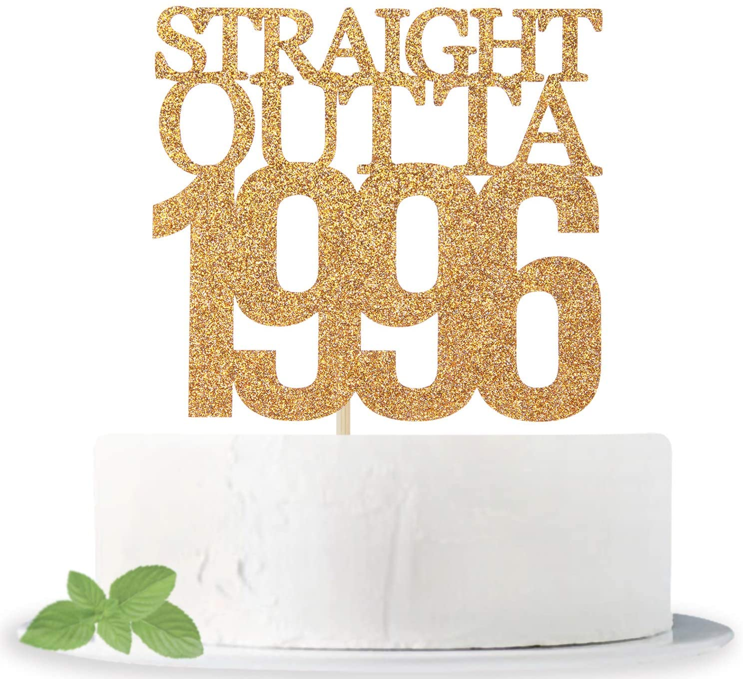 Gold Glitter Straight Outta 1996 Cake Topper - Cheers to 24 Years - 24 and Fabulous Cake Topper - 24th Birthday/Wedding Anniversary Party Sign Decorations