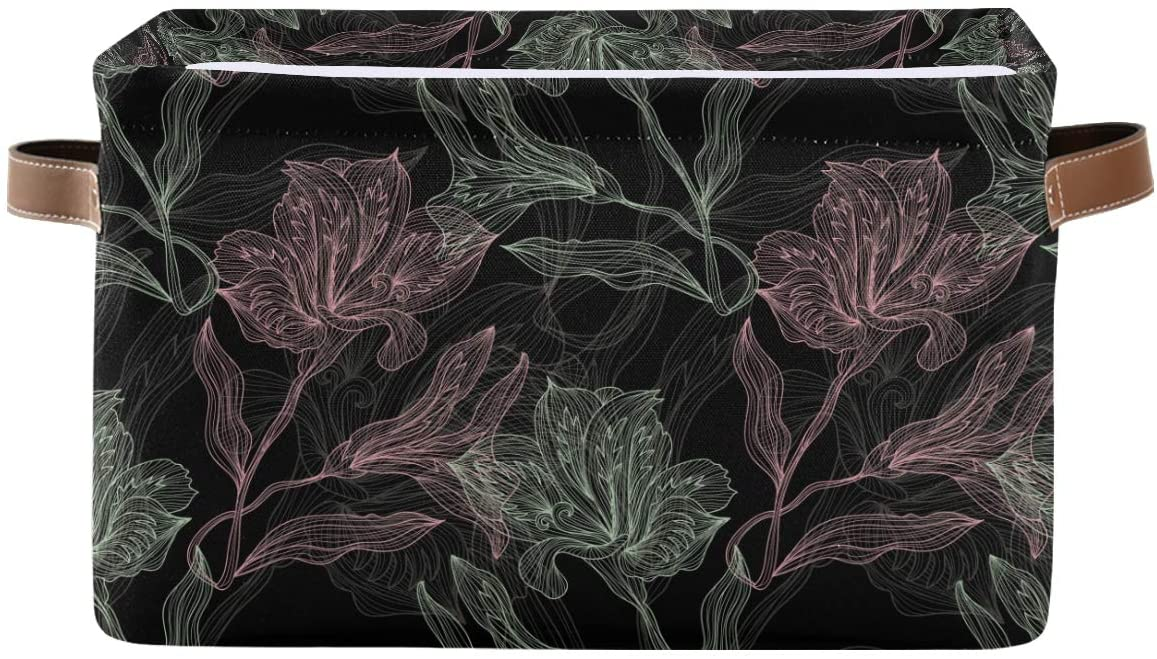 senya Large Foldable Storage Basket, Floral Seamless Pattern Fabric Storage Bin Organizer Bag with Handles 15 x 11 x 9.5 inch