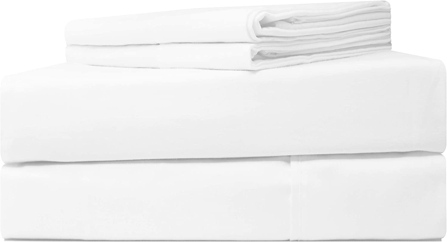 Five Elements 500-Thread-Count 100% Egyptian Pure Cotton Sheets Set Pure White Queen Size, 4-Pc Extra Long-Staple Luxury Hotel Bedding Bed Sheets, Soft Sateen Weave, Fit Mattress Upto 18'' Deep Pocket