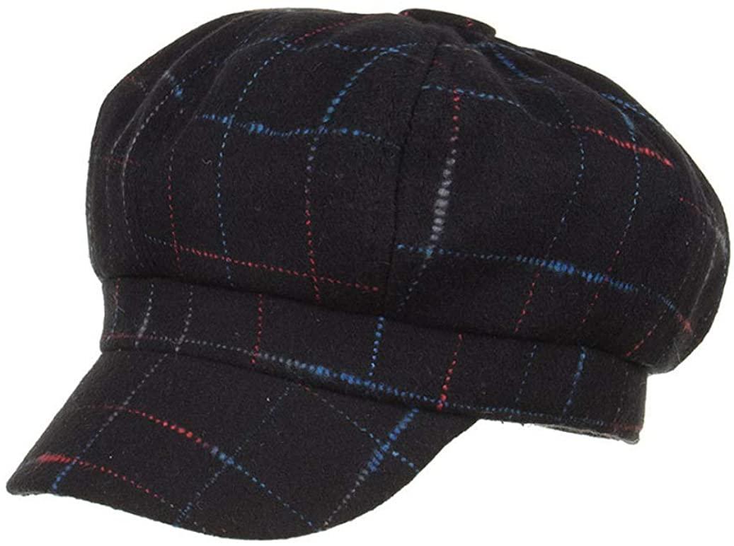 Women Casual Newsboy Caps Plaid Tweed Flat Hat Berets Baker Boy Cap Winter Ivy Painter Hats