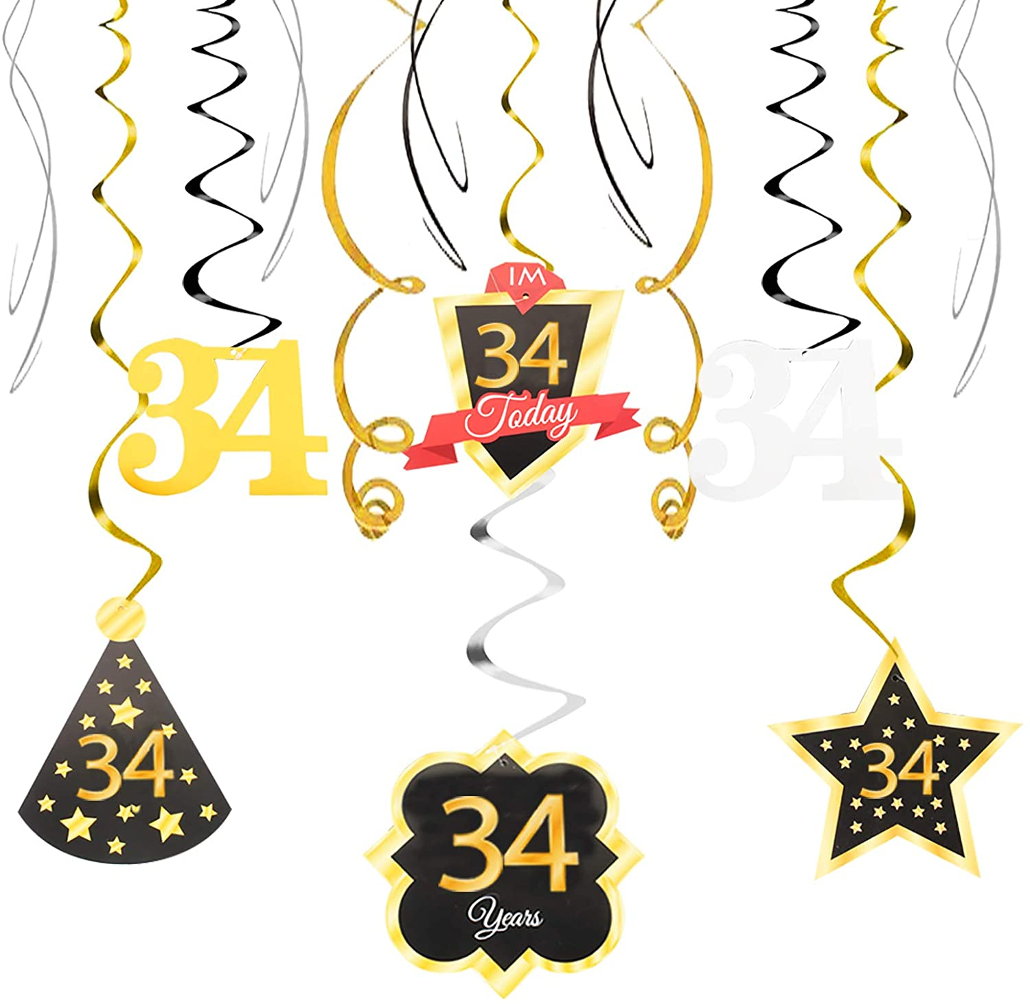 34 Birthday Decoration Happy 34th Birthday Party Silver Black Gold Foil Hanging Swirl Streamers I'm Thirty-four Years Old Today Birthday Hat Gold Star Ornament Party Present Supplies