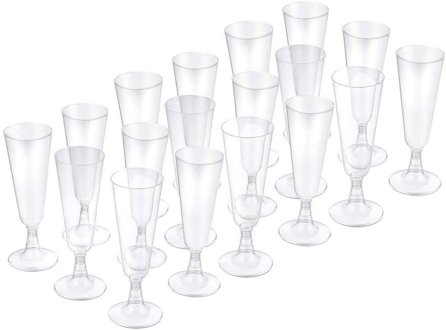 Disposable Plastic Party Champagne Glasses Plastic Flute Glasses Cup Clear Champagne Flute Disposable Champagne for Wedding Party Toasted Flute Cocktail Cup Ideal for Mimosa Wine Glasses 5.5 oz
