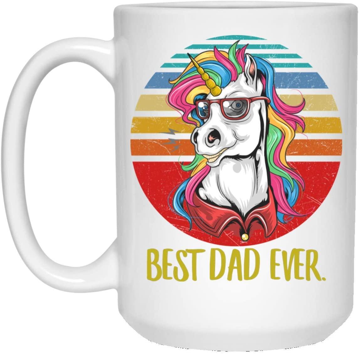 Funny Best Unicorn 4 Dad Ever Sunset Retro Coffee Mug 15oz