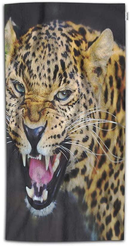 Moslion Tiger Hand Towel 15x30 Inch Wild Animal Tigers Leopard Feather Brown Black Towel Soft Microfiber Face Hand Towel Kitchen Bathroom for Boys Girls Men