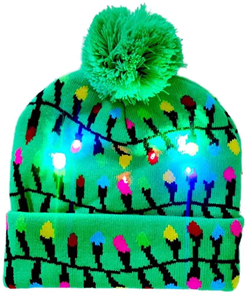 Deals LED Christmas Beanie Christmas Hat Knitted Beanie Colorful Beanie for Christmas