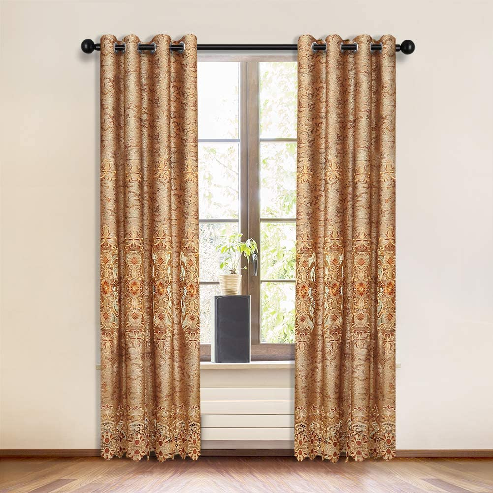 ELKCA European Embroidered Curtains for Living Room Luxury Brown Curtains for Bedroom Embroidered Window Curtains for Kitchen (52