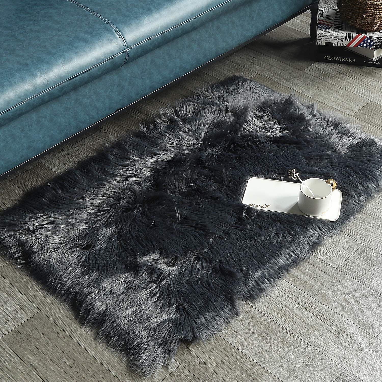 HAOCOO Faux Fur Sheepskin Rug Dark Gray Shag Chair Coach Covers 2'x 3' Fluffy Wool Area Rug Small Soft Throw Rugs Rectangle Floor Carpet for Bedroom Sofa Bedside Nursery Home Decor
