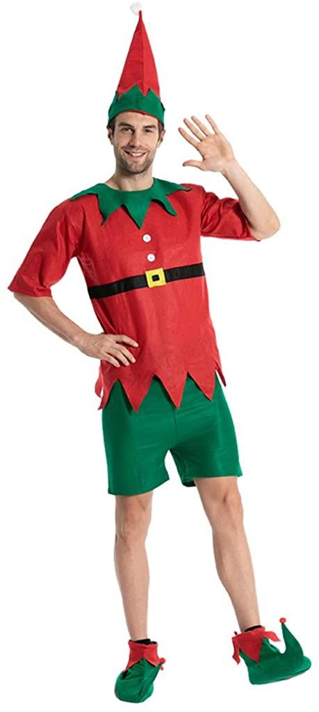 FantastCostumes Men's Christmas Elf Costume Santa's Helper Party Fancy Dress