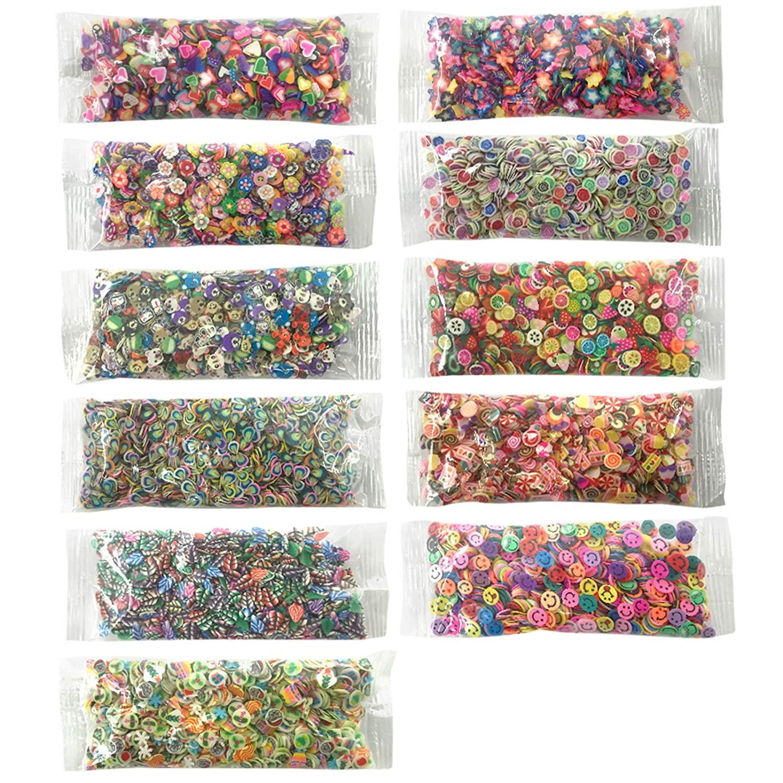 1,1000 Nail Art Slice Cute Polymer Fimo Slices Nail Art Supplies Crafts DIY Nail Stuff Decor Making Kit Cake/Smile/Animals/Fruit/Heart/Plum Blossom/Leave/Feather/Rose/Christmats/Pentagram