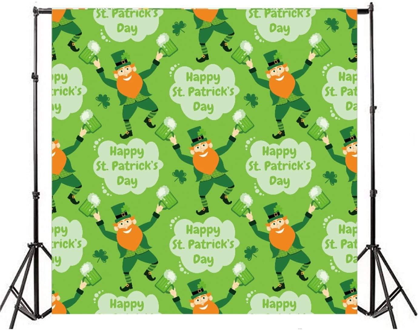 Leyiyi 6x6ft Photography Background Happy St. Patrick's Day Backdrop Lucky Greenery Clover Leprechauns Hat Sheperd Beer Cheer March 17th Spring Holiday Shamrocks Irish Photo Portrait Vinyl Studio Prop