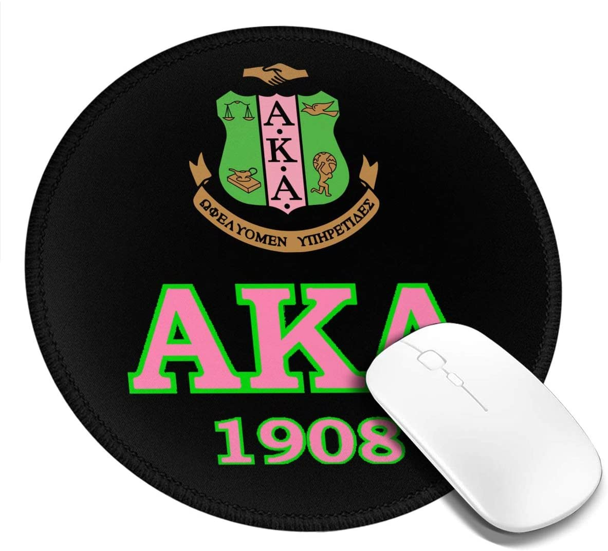 Customized Round Mouse Pad,Alpha Kappa Alpha Mouse Pad Non-Slip Rubber Comfortable Computer Mouse Pad 7.9x7.9in
