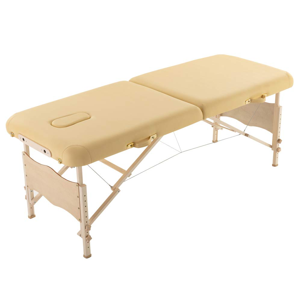 Zebery Massage Table, Portable Massage Bed Spa Bed Adjustable Massage Table 2 Section Folding Massage Bed Salon Bed With Carry Case