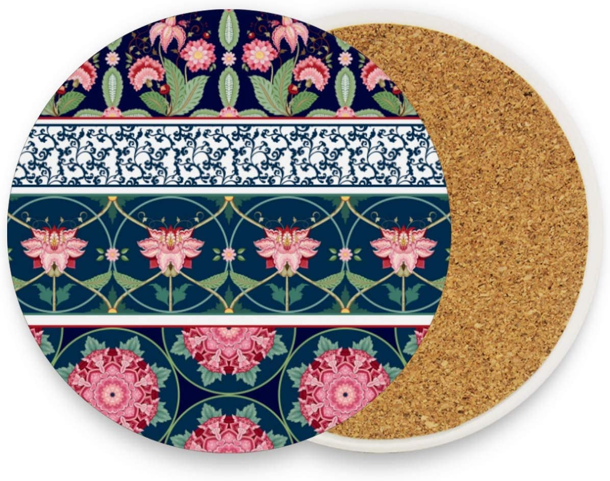 visesunny Ethnic Style Flower Drink Coaster Moisture Absorbing Stone Coasters with Cork Base for Tabletop Protection Prevent Furniture Damage, 2 Pieces