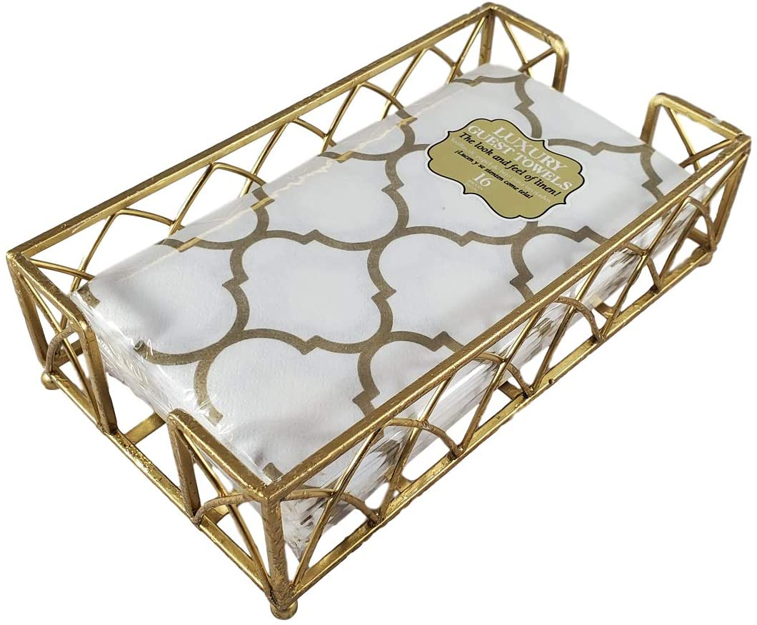 RLT-Home Gold Guest Towel Napkin Holder Caddy and Premium Quality Everyday Bathroom Guest Towels Bundle (Gold Lattice)