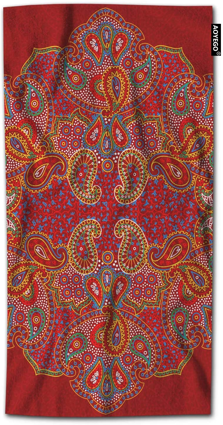AOYEGO Patchwork Bath Towel Paisley Collage Geometric Floral Feather Ethnic Spotted Regular Bath Hand Towels Decorative 64x32 Inch Soft Polyester-Microfiber for Beach Bathroom Home Red