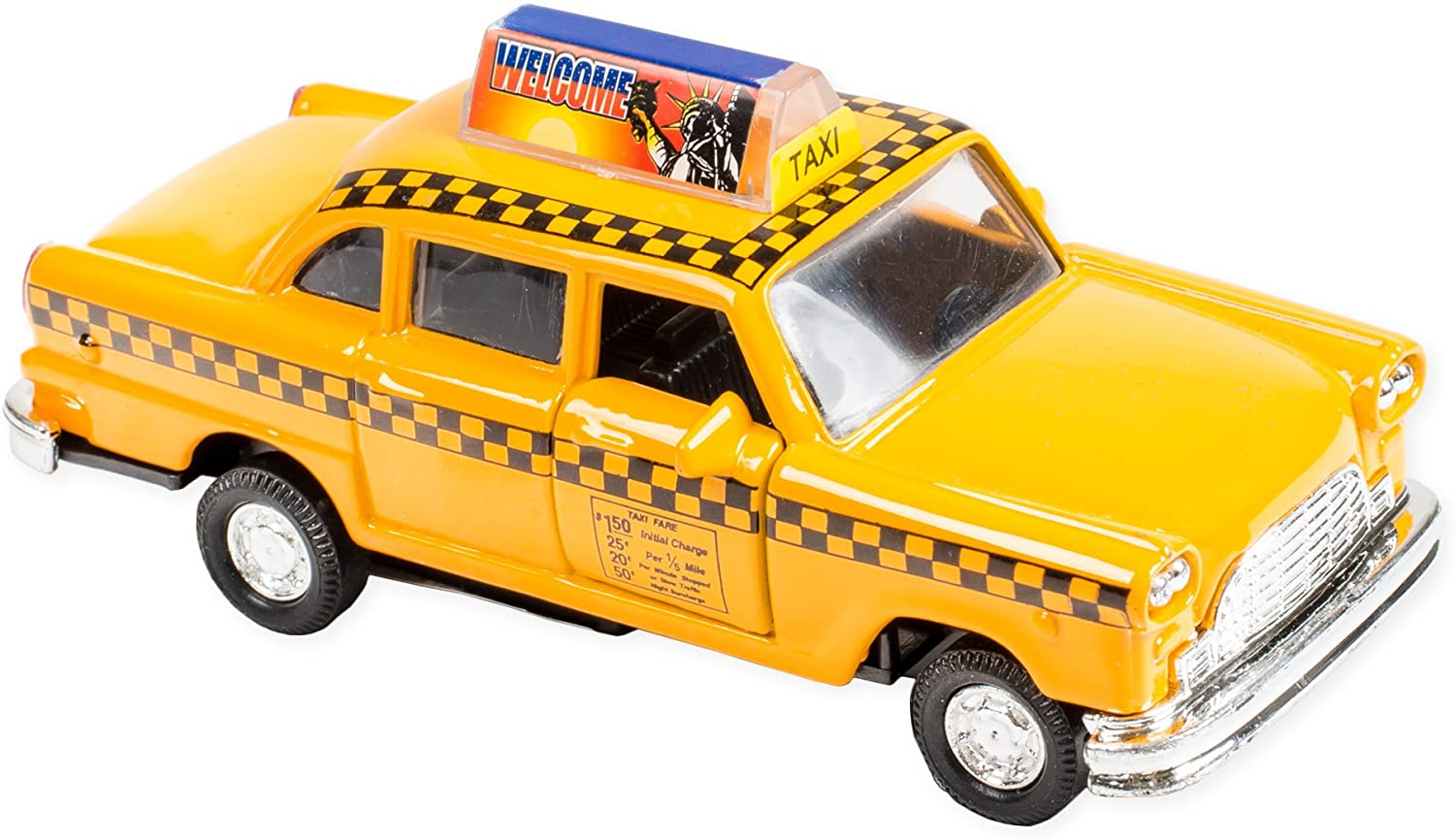 Classic Checkered NY City Taxi Cab Die Cast 4.75 Inch Toy Car