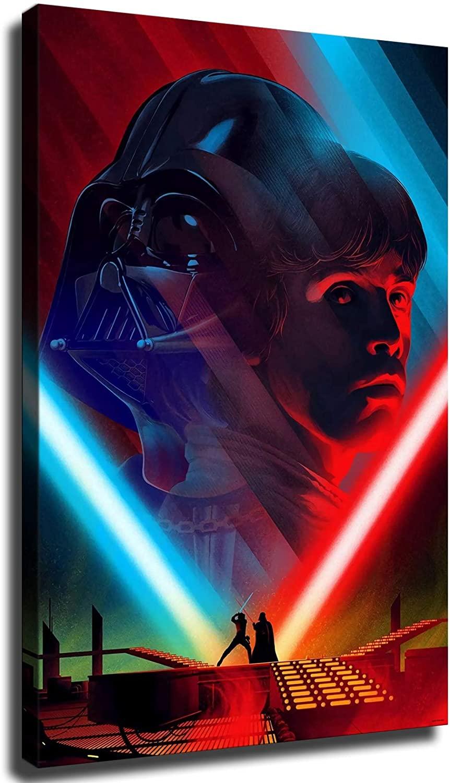 Star Wars Darth Vader andLuke Skywalker Death Star Duel Poster Wall Decor Room Decor Canvas Wall Art Posters (8x12inch,No Framed)