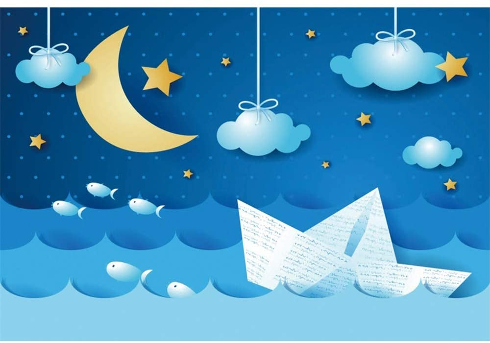 Baocicco 9x6ft Cartoon Moon and Stars Backdrop Abstract Blue Sky White Clouds White Paper Boat Photography Background Clouds Baby Shower Airplane Birthday Party Little Kids Portrait Photo Booth