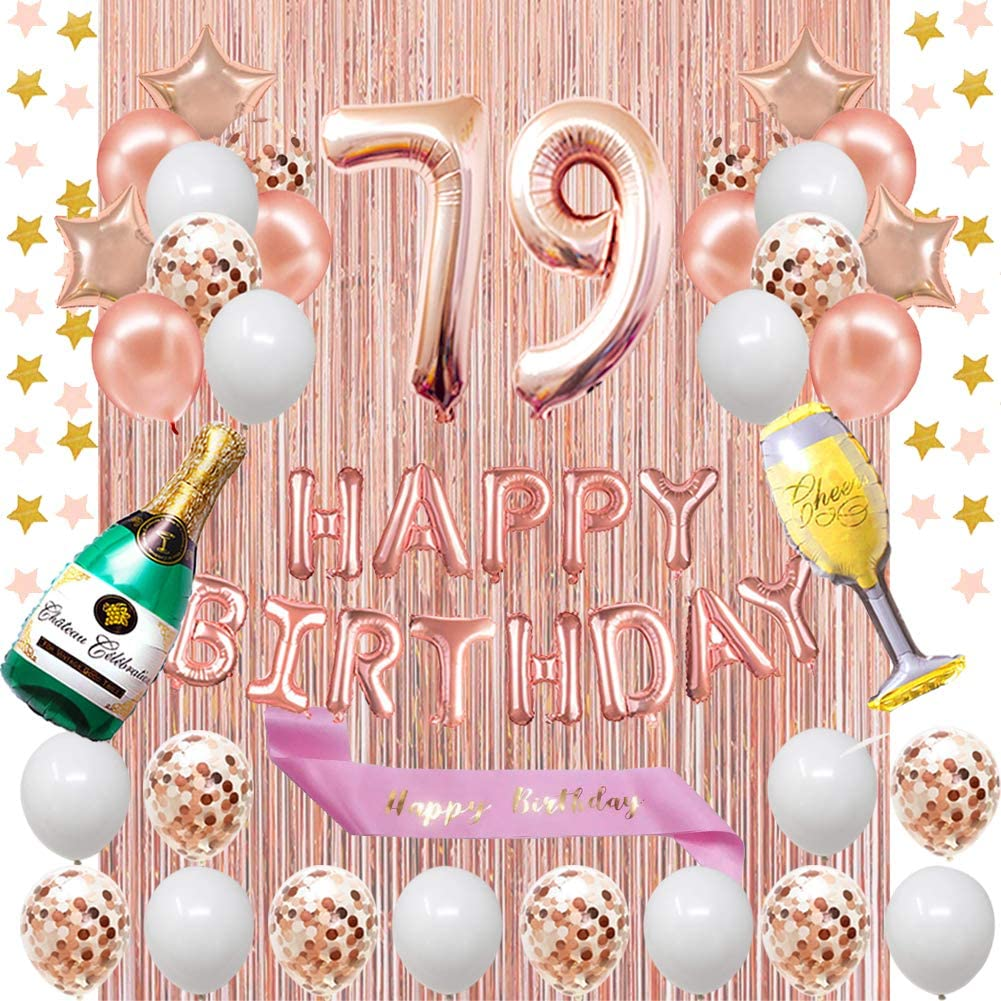 Fancypartyshop 79th Birthday Decorations - Rose Gold Happy Birthday Banner and Sash with Number 79 Balloons Latex Confetti Balloons Ideal for Girl and Women 79 Years Old Birthday Rose Gold