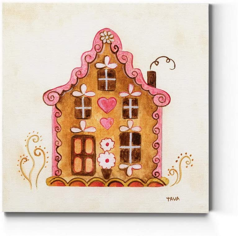 Renditions Gallery Pink Gingerbread House (1) Wall Art, Lovely Christmas & Winter, Holiday Kitchen Artwork, Premium Gallery Wrapped Canvas Decor, Ready to Hang, 10 in H x 10 in W, Made in America