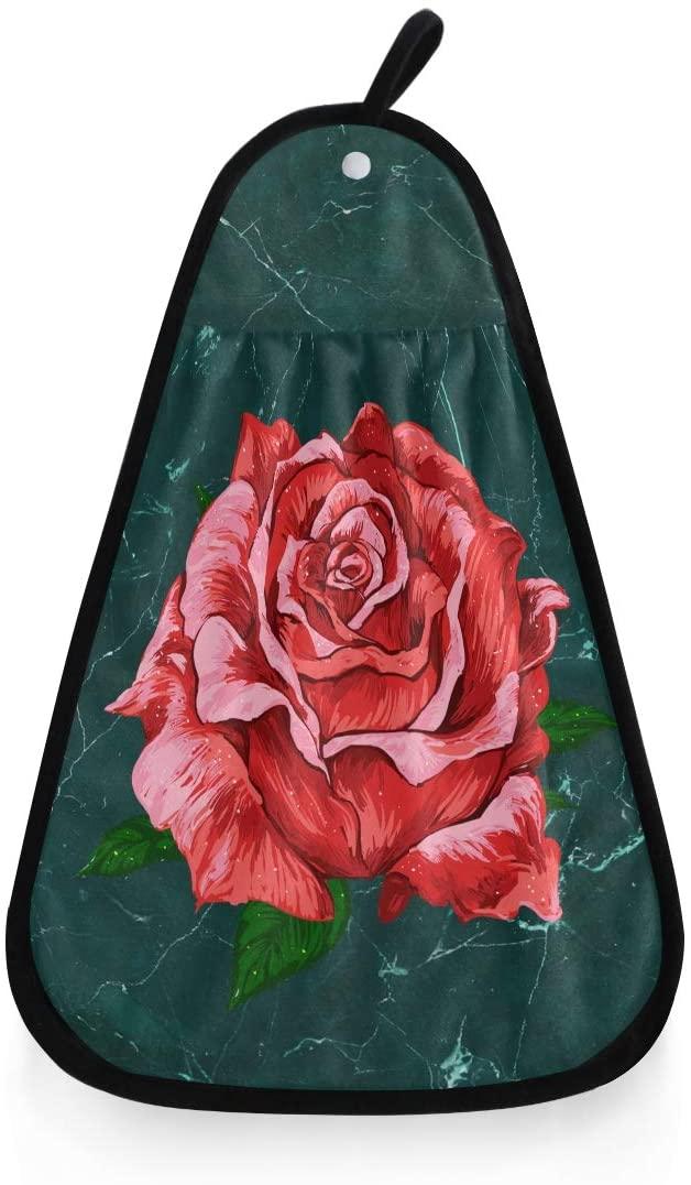 Selerdon Red Rose Hand Towel Hanging Kitchen Dish Towel Soft Absorbent Washcloth Kitchen Bathroom Decor 16.53x12.20 Inches