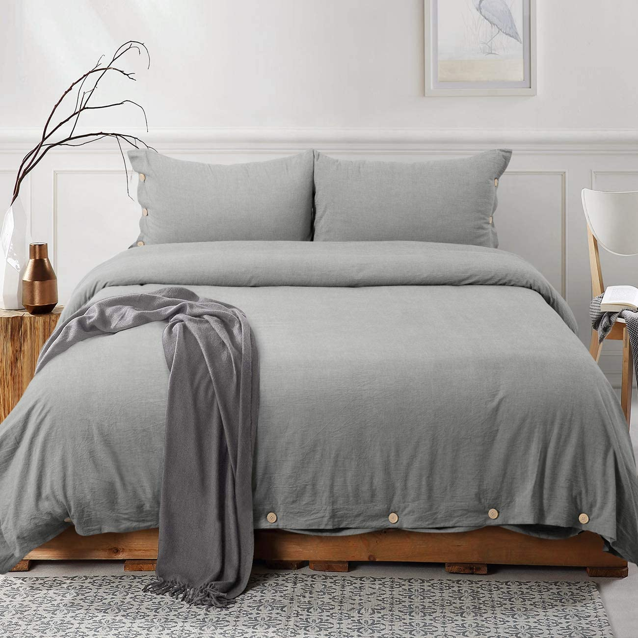 viewstar Grey 100% Washed Cotton Duvet Cover Set,3 Pieces Luxury Soft Bedding Set with Buttons Closure,Breathable,Hypoallergenic,Solid Gray Color Duvet Cover King Size(No Comforter)