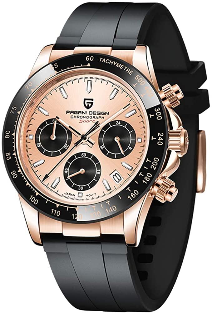 Pagani Design Men's Quartz Wrist Watches, Japan VK63 Movement Synthetic Sapphire Dial Glass Rubber Watch Band 100M Waterproof Munifunction Chronograph Watch for Men