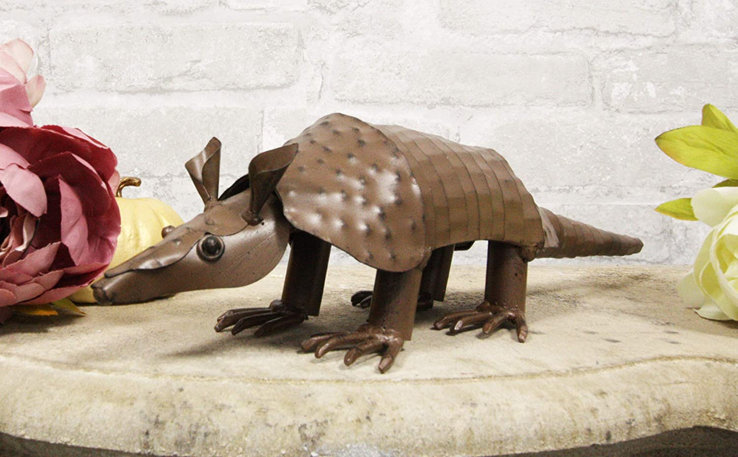 Ebros Western Rustic Forest Hand Sculpted Metal Springy Armadillo Statue 15.5