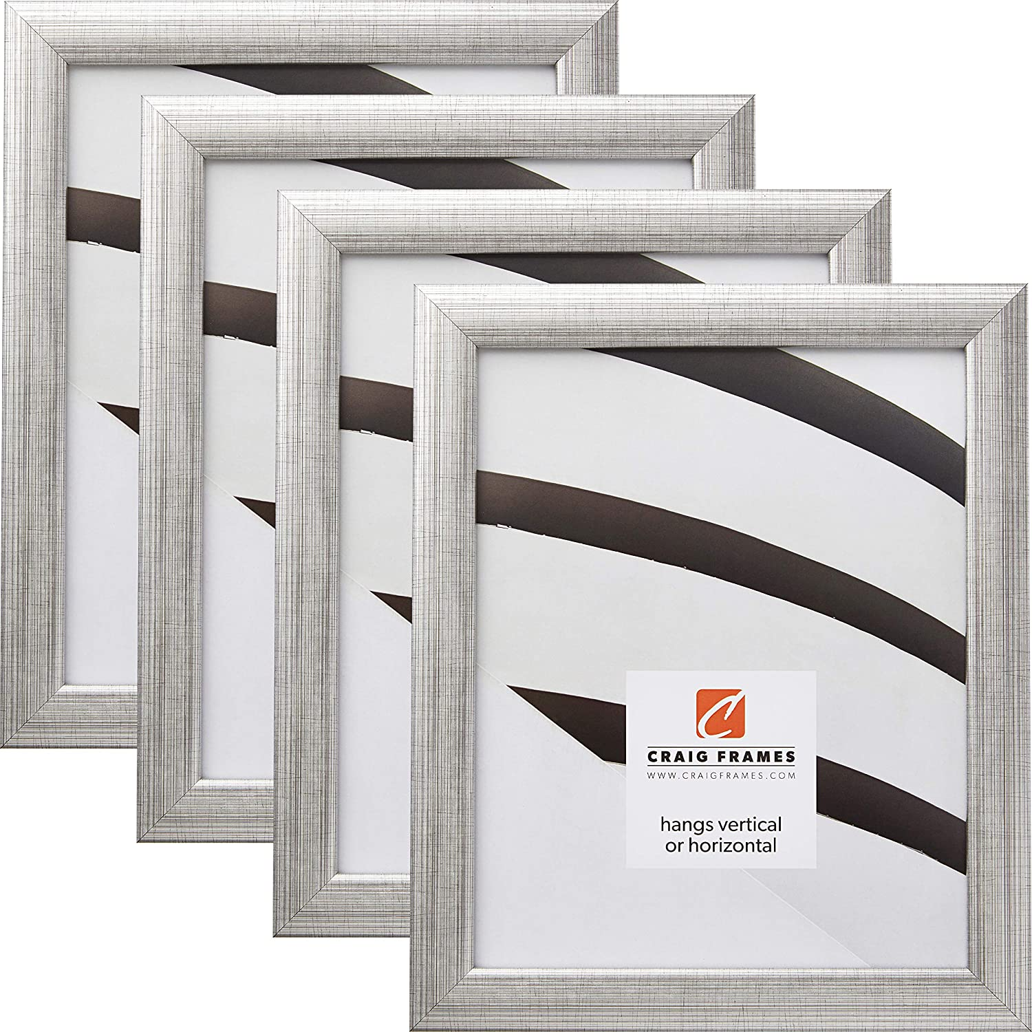 Craig Frames 23247944 8.5 x 11 Inch Picture Frame, Scratched Silver, Set of 4