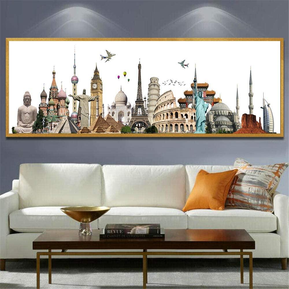 TWTQYC Posters and Prints Canvas Painting Paris Dubai Rome New York Cityscape Building Wall Art Pictures Home Decor Modern Art|40x120cm/No Frame