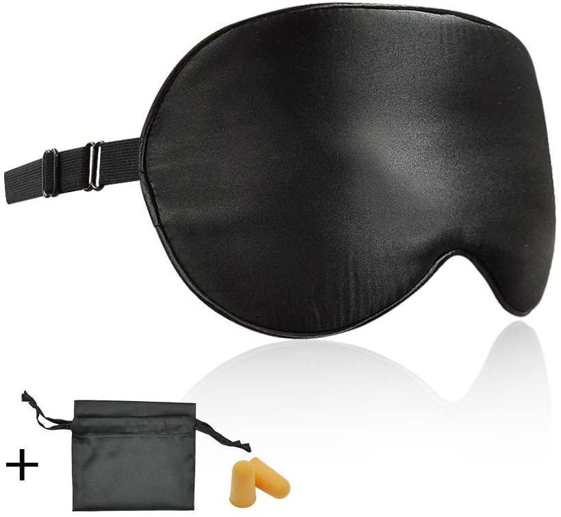 Silk Sleep Mask Eye Mask Blindfold with Adjustable Elastic Strap for Full Night's Sleep, Travel and Nap, Bonus Free Luxury Bag and Ear Plugs