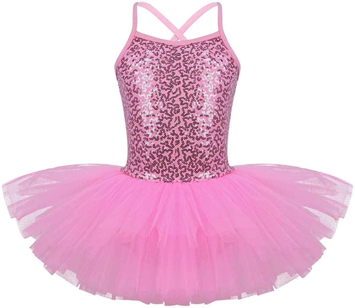 Nimiya Kids Grils Shiny Sequined Criss Cross Back Ballet Dance Tutu Dress Gymnastics Leotard Workout Dance Wear Costume