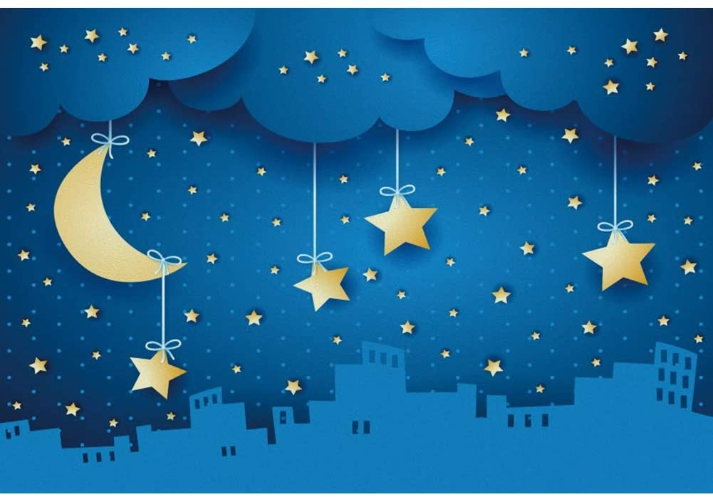 Baocicco 5x3ft Cartoon Moon and Stars Backdrop Abstract Starry Sky Clouds City Night Scene Photography Background Clouds Baby Shower Airplane Birthday Party Little Kids Portrait Photo Booth Props