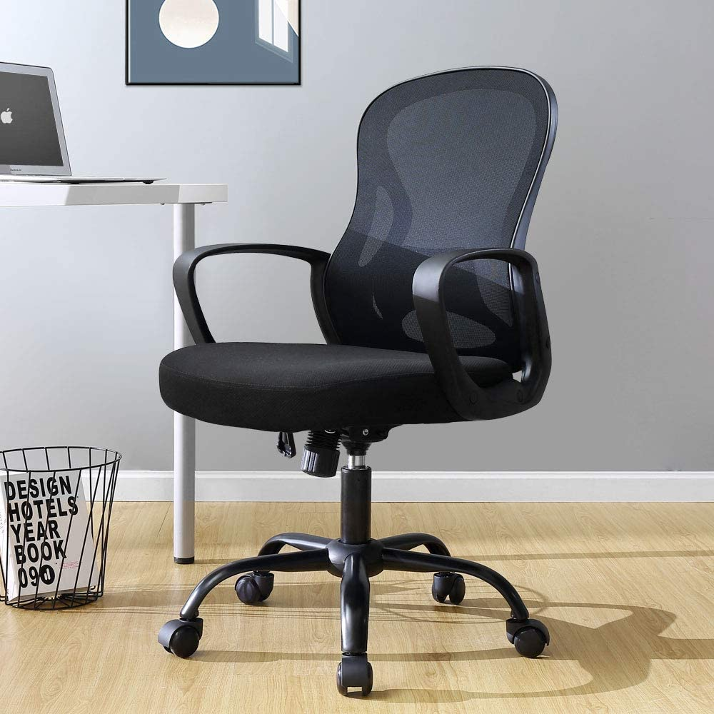 BERLMAN Mid Back Mesh Office Chair Adjustable Height Desk Chair Swivel Chair Computer Chair with Armrest Lumbar Support (Black)
