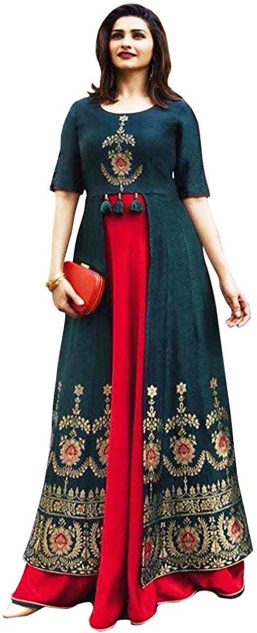 DREAMANGEL FASHION Womens Round Neck Anarkali Party Wear Kurta