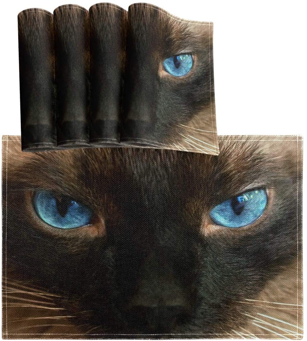 Oarencol Cat Blue Eyes Placemat Table Mats Set of 4, Heat-Resistant Washable Clean Kitchen Place Mats for Dining Table Decoration