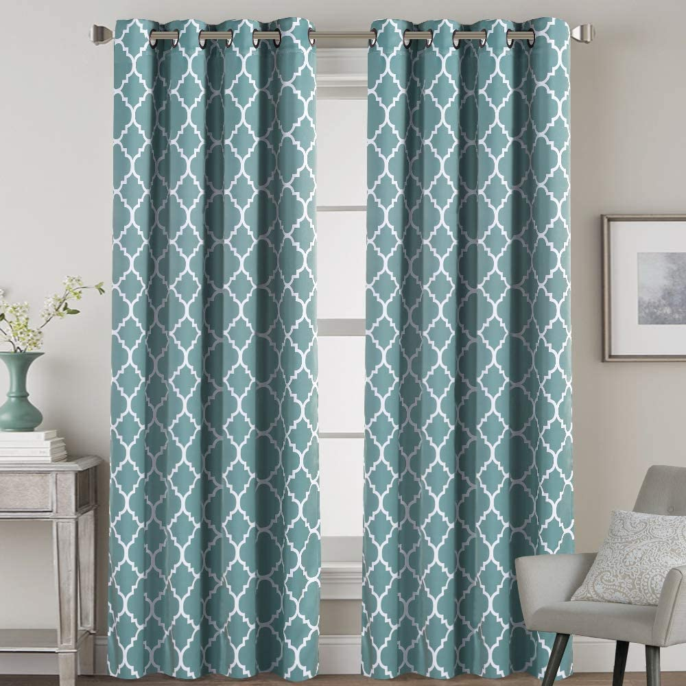H.VERSAILTEX Blackout Curtains for Living Room/Bedroom Thermal Insulated Energy Saving Grommet Window Curtains (2 Panels) Geometric Moroccan Printed Draperies, Smoke Blue and White, 52 by 96 Inch
