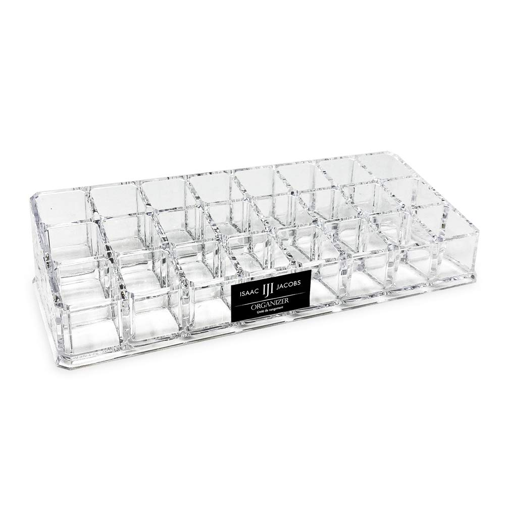 Isaac Jacobs Clear Acrylic 24-Compartment Lipstick/ Short Lip Gloss Holder, Organizer for Makeup, Essential Oils, Storage Solution, Rack Display (3 Rows (x8))