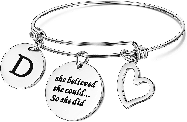 Initial Bracelet Letter Bracelet for Inspirational Gifts - Engraved 26 Letters Initial Charm Bracelets Bangle Bracelet Birthday Jewelry Gift for Women Teen Girls