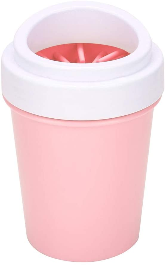 Taidda- Plastic Pet Paw Cleaning Cup, 360° Rotating Portable Outdoor Pet Feet Wash Cup, Comfortable Silica Gel Puppy for Pet Dog(Pink, Small)
