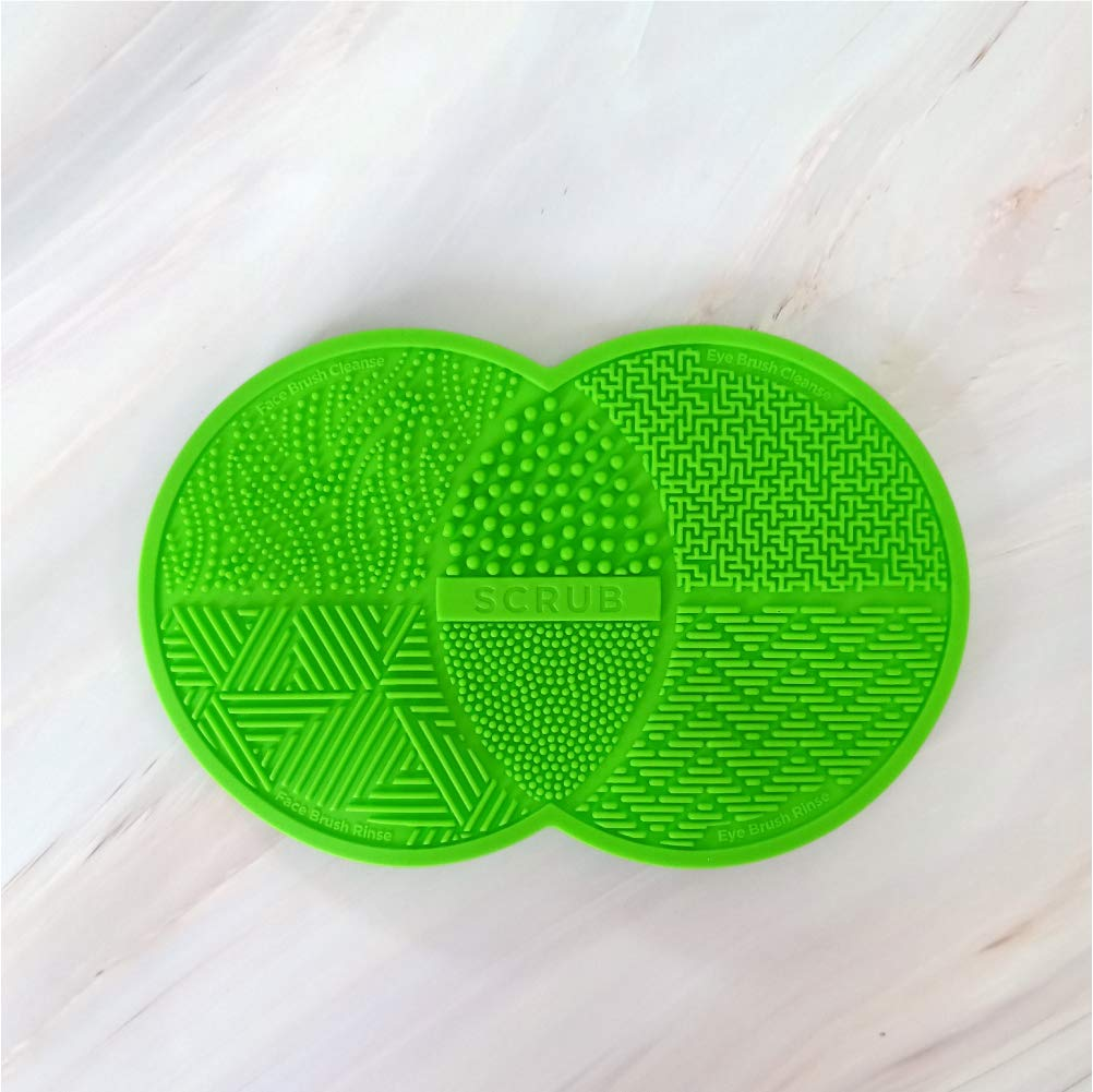 Avarosa Silicone Makeup Brush Cleaning Mat, Cosmetic Brush Cleaner, Brush Cleaning Pad with Suction Cup, Silicone Material, Soft Texture, Portable and Convenient, Assorted Colors. (Green)