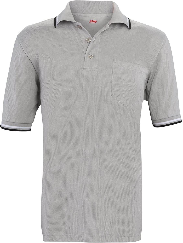 ADAMS USA Short Sleeve Baseball Umpire Shirt - Sized for Chest Protector, Gray